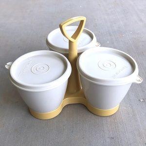 Tupperware Condiment Holder Container Gold